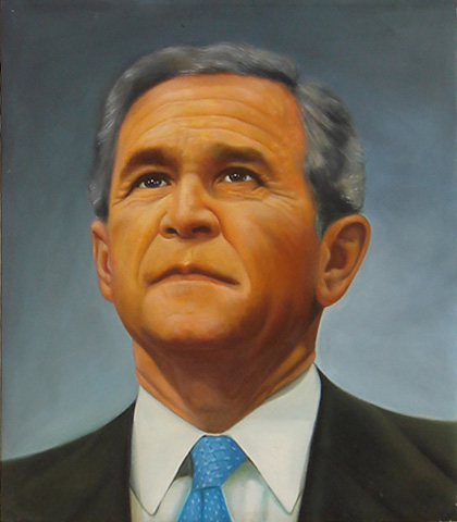 Dafen Online Realism George W Bush Photo To Oil Painting